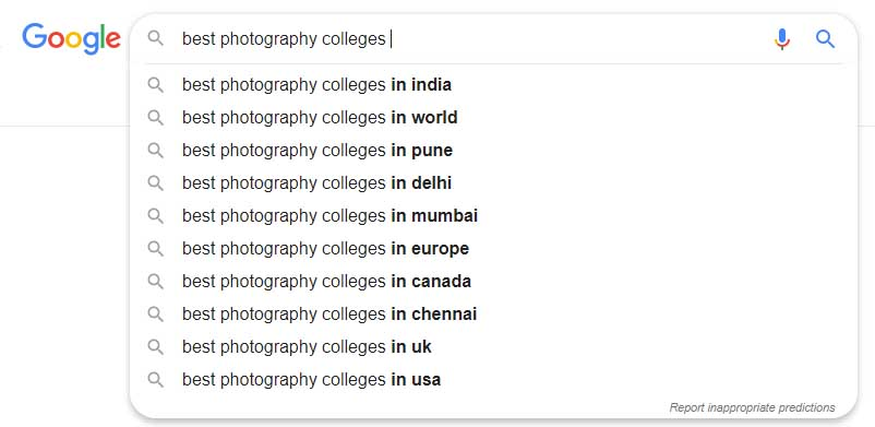 best photography colleges in india-search