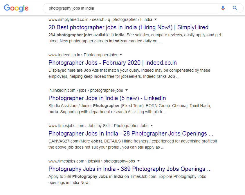 Photography Jobs in India